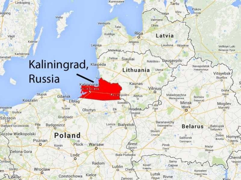 Mapa da Europa Oriental destacando o exclave russo de Kaliningrado